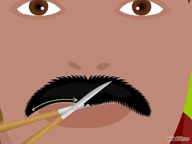 hoe je snor trimmen stap 5